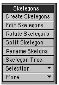 The Skelegons category houses all the tools you need to create and edit Skelegons, which you'll convert to bones in the LightWave Layout application.