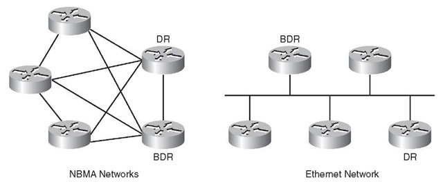 OSPF Network Types with DR and BDR Example