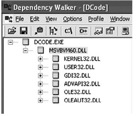 Excerpt from Dependency Walker GUI