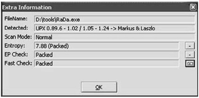 PEiD Extra Information Dialog with rada.exe Loaded