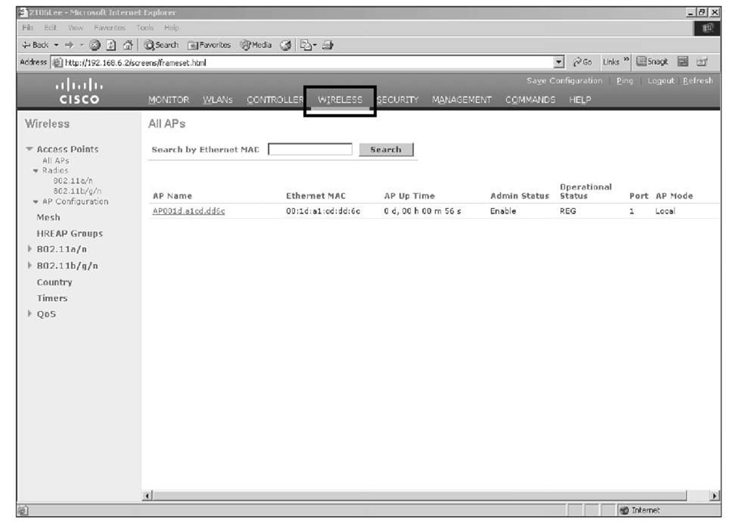 Web GUI Screen of Registered APs