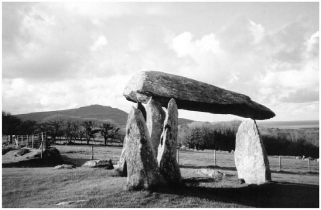 Pentre Ifan, Pembrokeshire, with Carn Ingli and the sea behind.