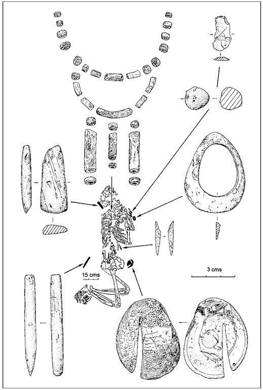 Man's grave 28, from Aiterhofen-Odmuhle, southern Germany, with Spondylus beads, bracelet and notched shell, stone tools, bone point and flint artefacts.