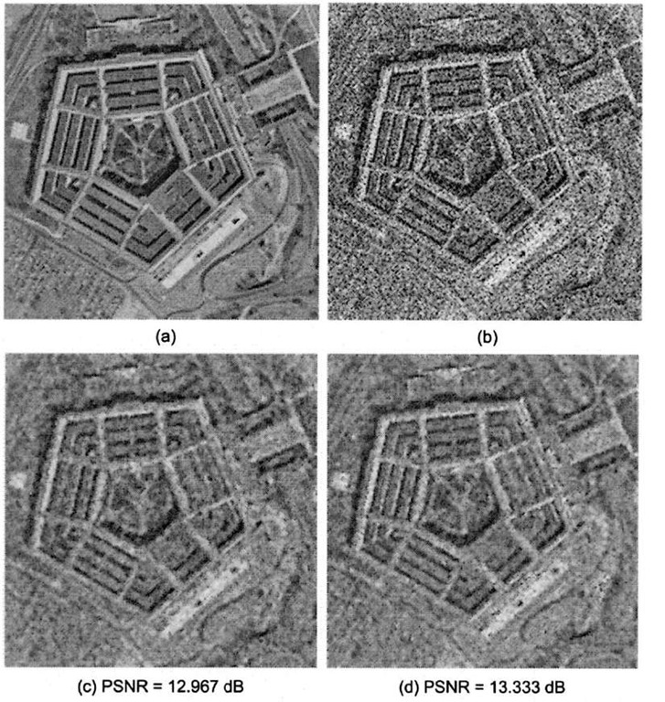 Speckle noise removal using a 3x3 MMSE adaptive filter, (a) Original Pentagon satellite image, (b) Image corrupted with multiplicative speckle noise (modeled using zero-mean Gaussian distribution with variance 0.025). (c) Processed image using 3x3 median filter, (d) Processed image using 3x3 MMSE filter.