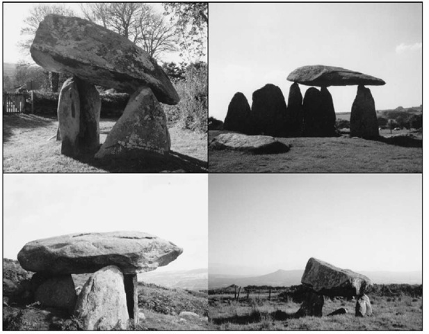 Stones that float to the sky: early monuments from the Irish Sea zone. Clockwise from top left: Carreg Coetan; Pentre Ifan; Maen y Bardd; Llech y Dribedd.