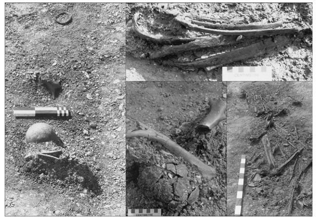 Depositions in the ditch segments at Etton. Clockwise from left: fox mandible, inverted pot, antler comb and pot, segment 7; cattle ribs, segment I; wood, bone and pottery including nested sherds, segment 7; human cranium, antler baton and cattle bone, segment 6.