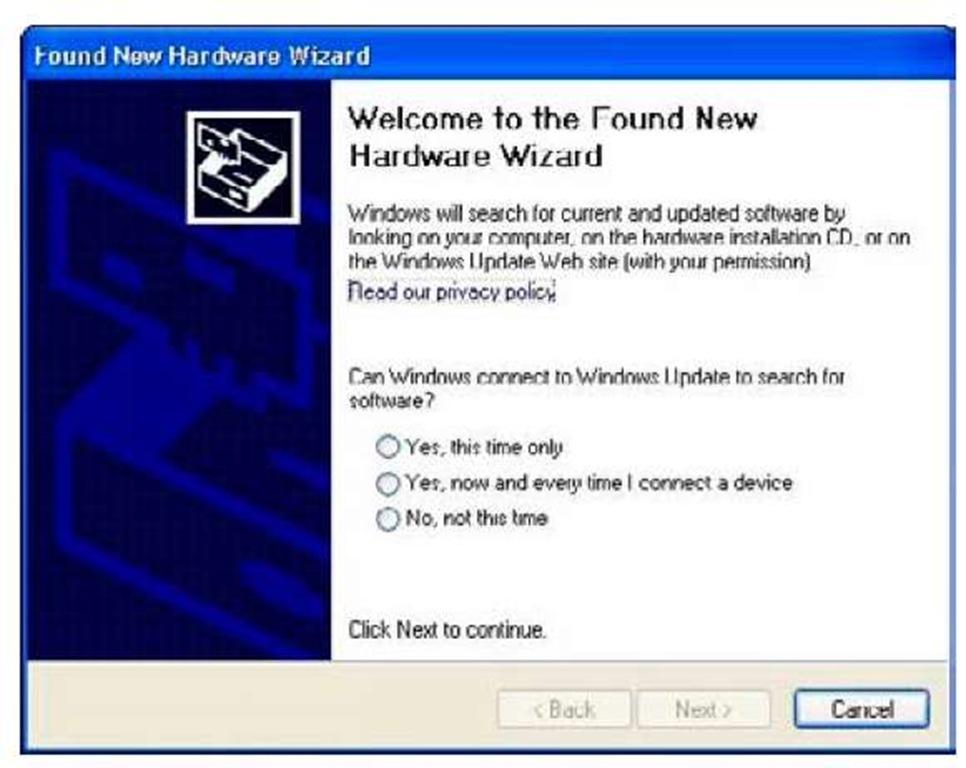 The Windows hardware detection dialog box.