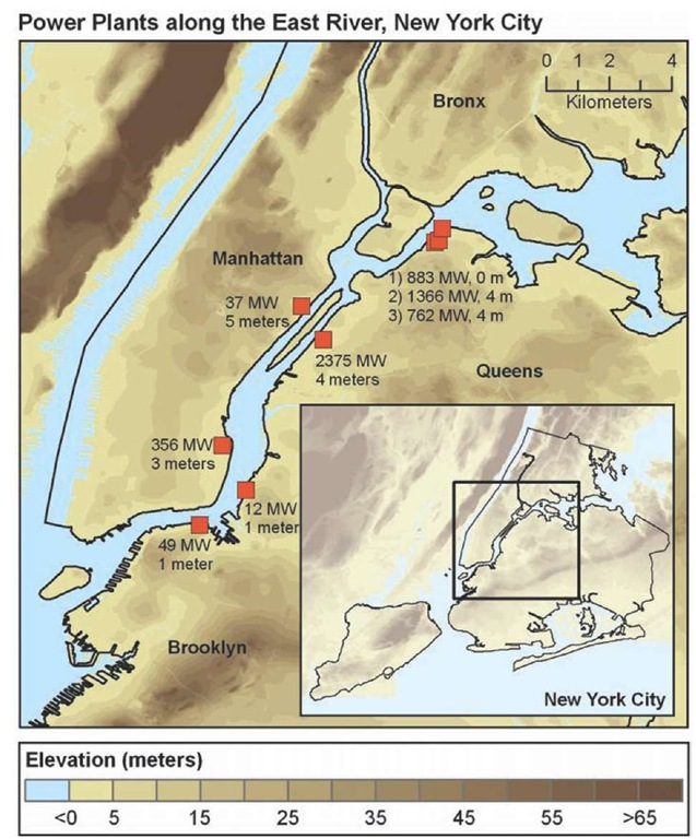 Location and elevation of power plants along the East River in New York City.
