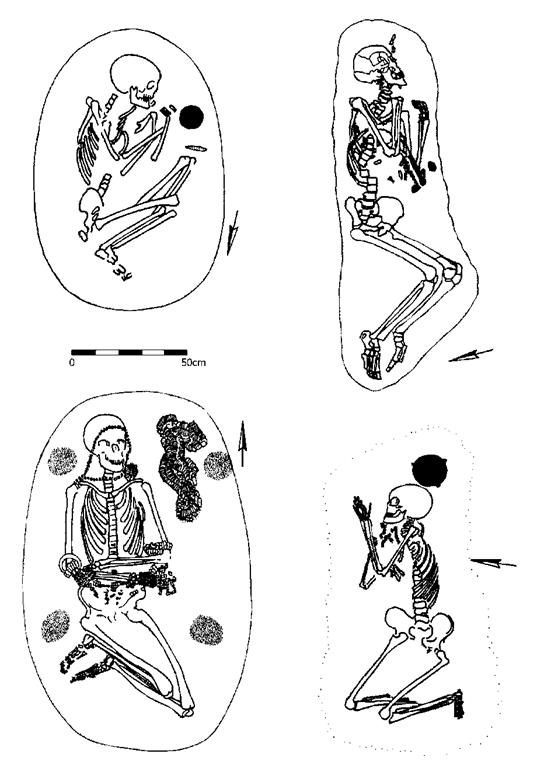 Body positions in LBK graves, a possible indication of sleeping poses. Clockwise from top left: Nitra 34; Stuttgart-Muhlhausen 67; Sondershausen 19; Sondershausen 15. After Orschiedt 1998.