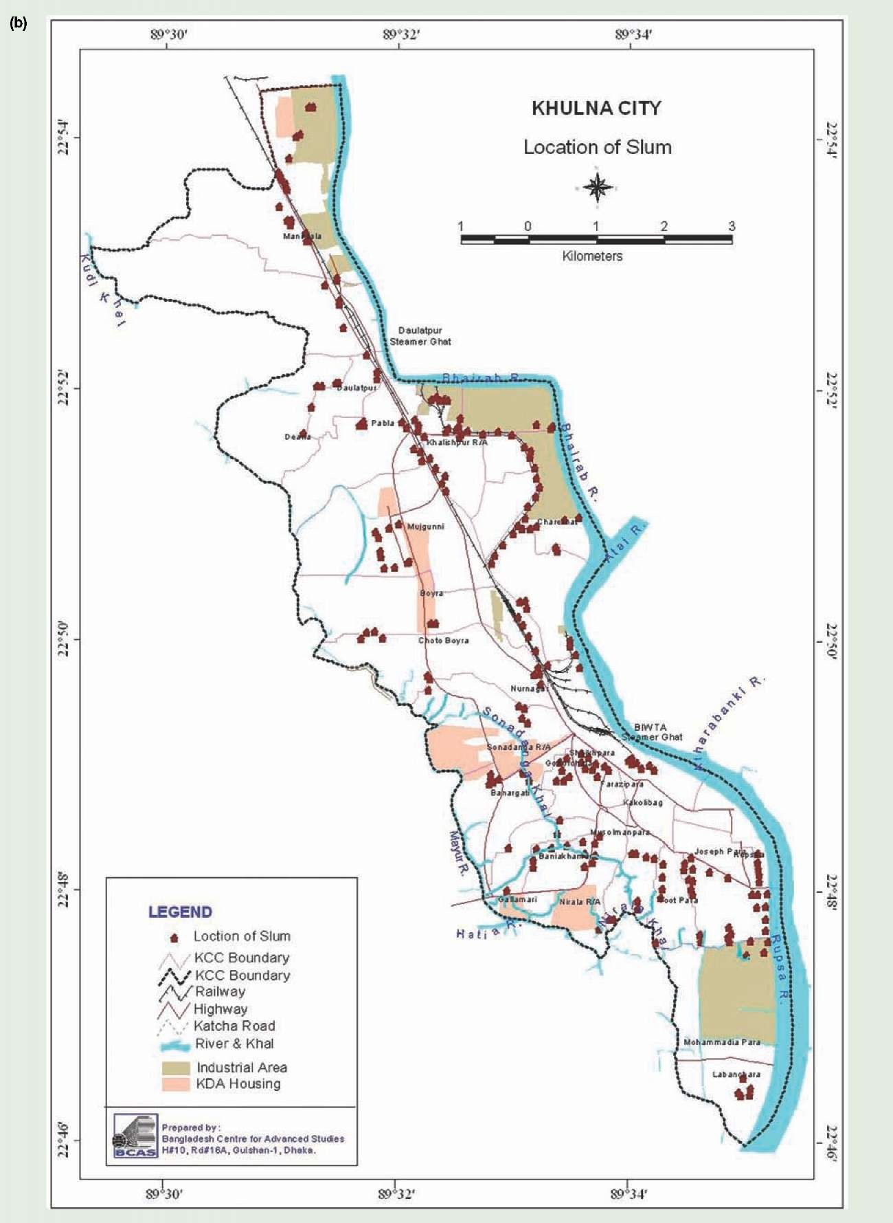 Urban Climate Risks Vulnerabilities And Impacts Climate Change - Map of khulna city