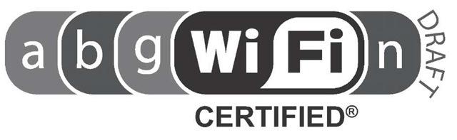 The Wi-Fi CERTIFIED® 802.11 n draft 2.0 logo.