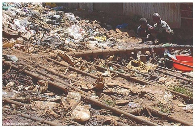 Potential health hazards in Kibera related to sanitation and water systems.