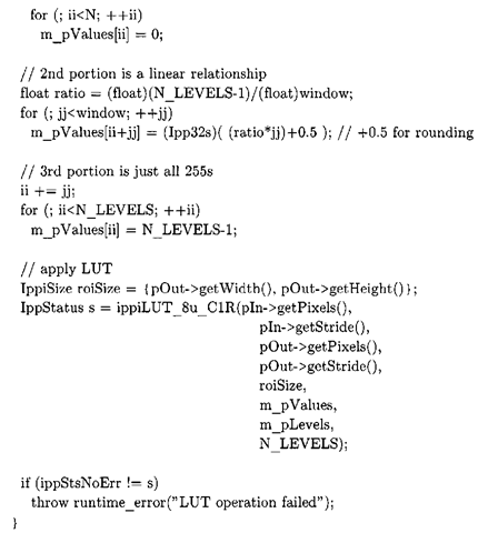 Listing 3-9: The core C++ window/level algorithm, from