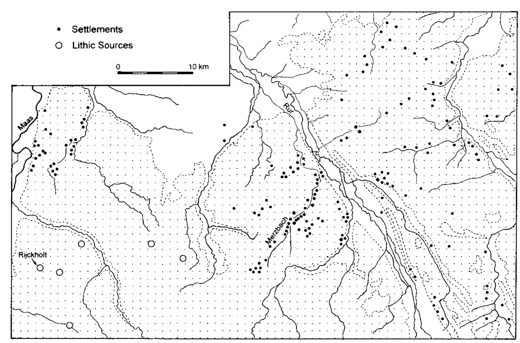 The distribution of known LBK settlements and lithic sources in north-west Germany and the south-east Netherlands.The Aldenhovener Platte is centred on the small Merzbach valley.