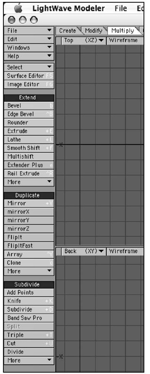 The Multiply tab contains some complex tools that enable you to build up your object in a variety of ways.