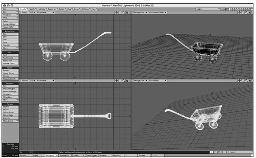 Each viewport can be set to any view you like. Here, with a simple wagon object loaded, the Top left is a Front view now, the Back is set to Bottom, while the Right view is now a Perspective view.