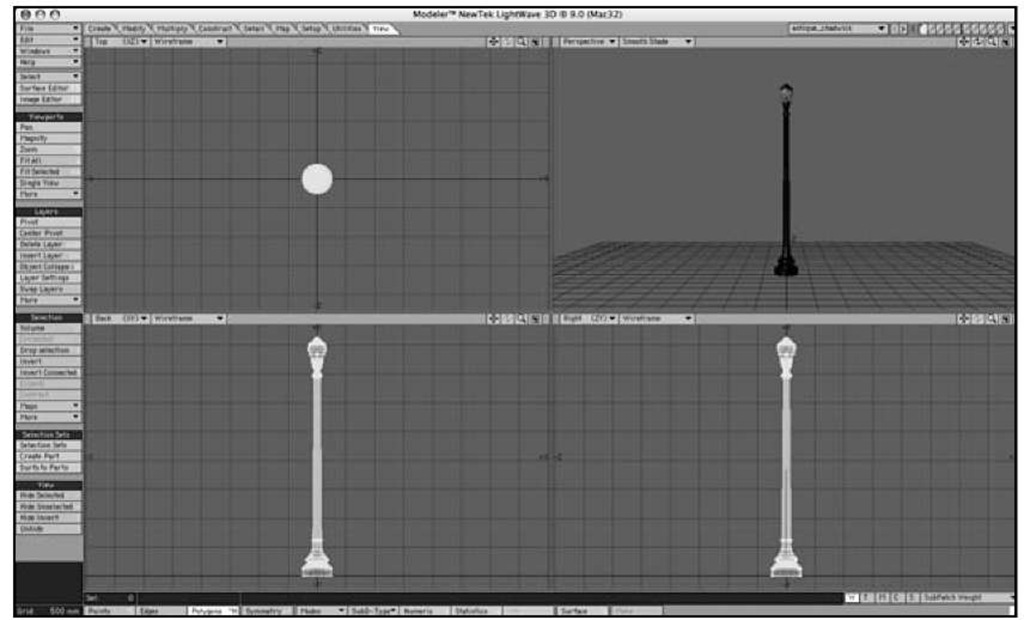 The simple lamppost object loaded into Modeler.