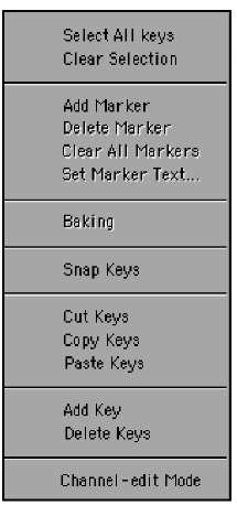 Right-click on one of the keyframes in the Dope Track, and you are greeted by a list of tools.