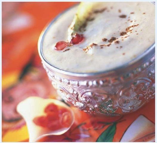 Frothy lassi is a refreshing yogurt-based drink.