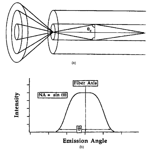 The numerical aperture of the fiber defines the range of external acceptance angles.