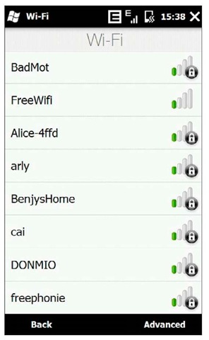 The Wi-Fi screen displays the list of available networks.