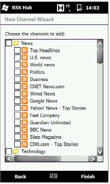 RSS Hub displays an impressive list of preselected RSS feeds.