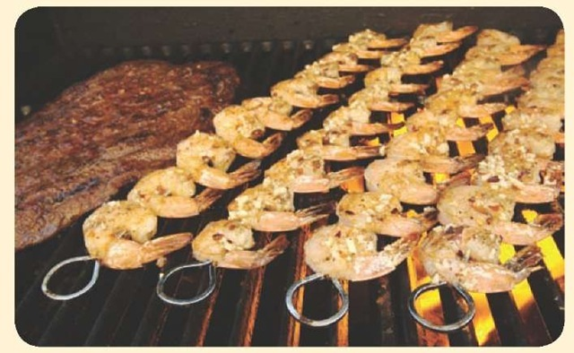 Shrimps are only one of the many food items that can be used. If it can be skewered, it can be a banderilla.