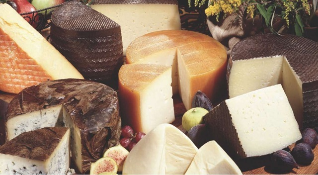 Spain produces many different cheeses made with milk from cows, sheep, or goats.