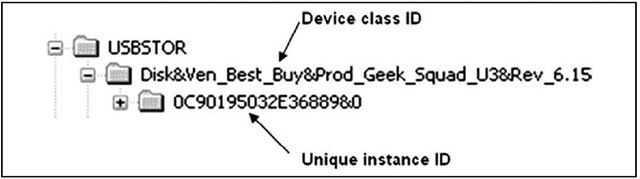 Portion of RegEdit Showing Device Class ID and Unique Instance ID