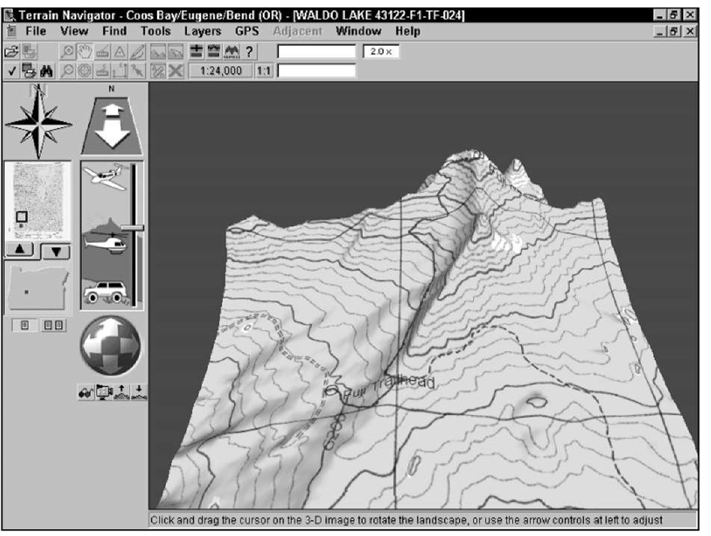 Manipulate a topographic map in 3-D.