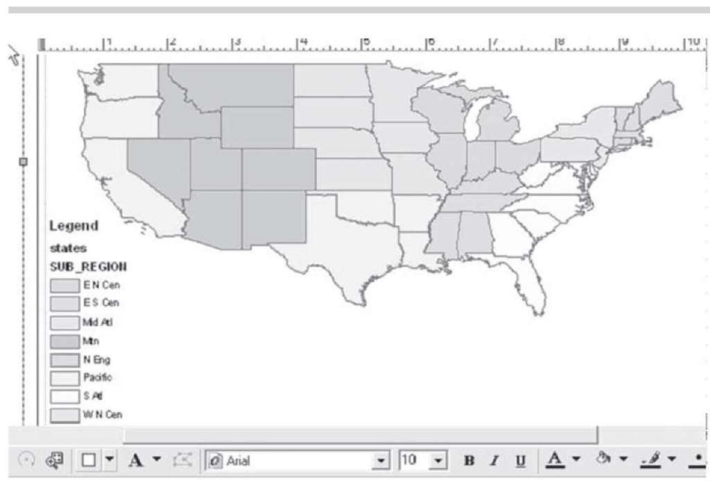Census Bureau sub-regions of the United States; a layout view.