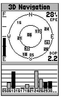 A GPS receiver satellite status page.