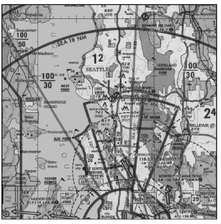 A sectional aeronautical chart for the Seattle area.