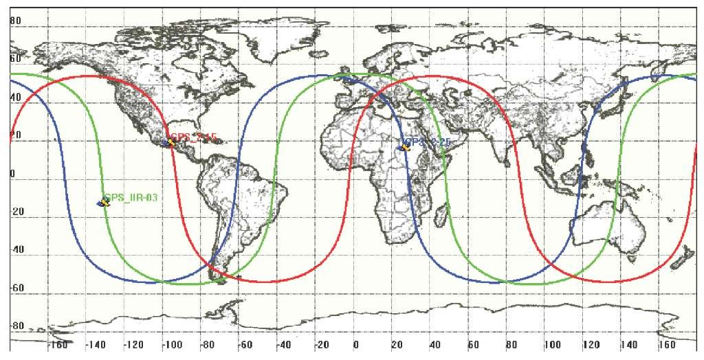 Orbit Ground Tracks For Three Gps Satellites