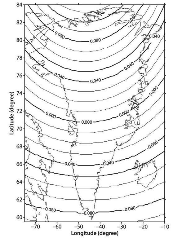 Earth tide displacement (in meters) in Greenland