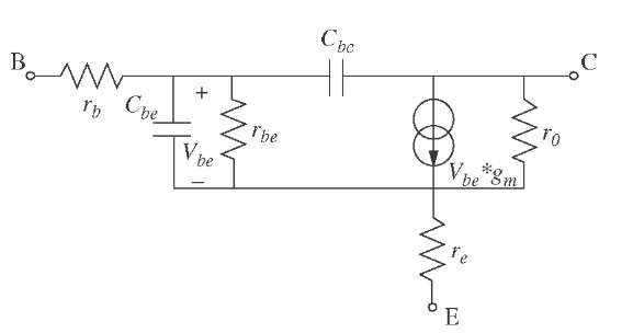 Small equivalent circuit of the SiGe input transistor