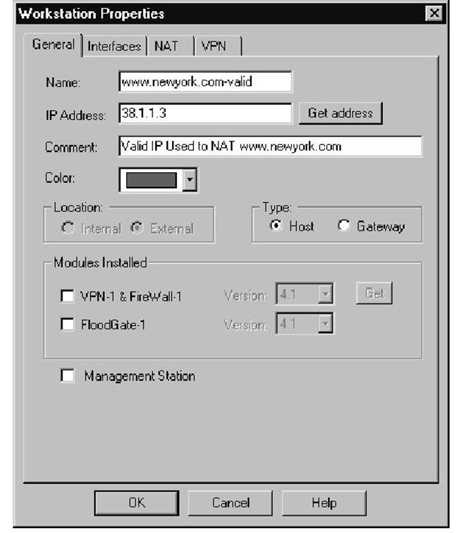 Workstation Object for NAT(Legal) IP
