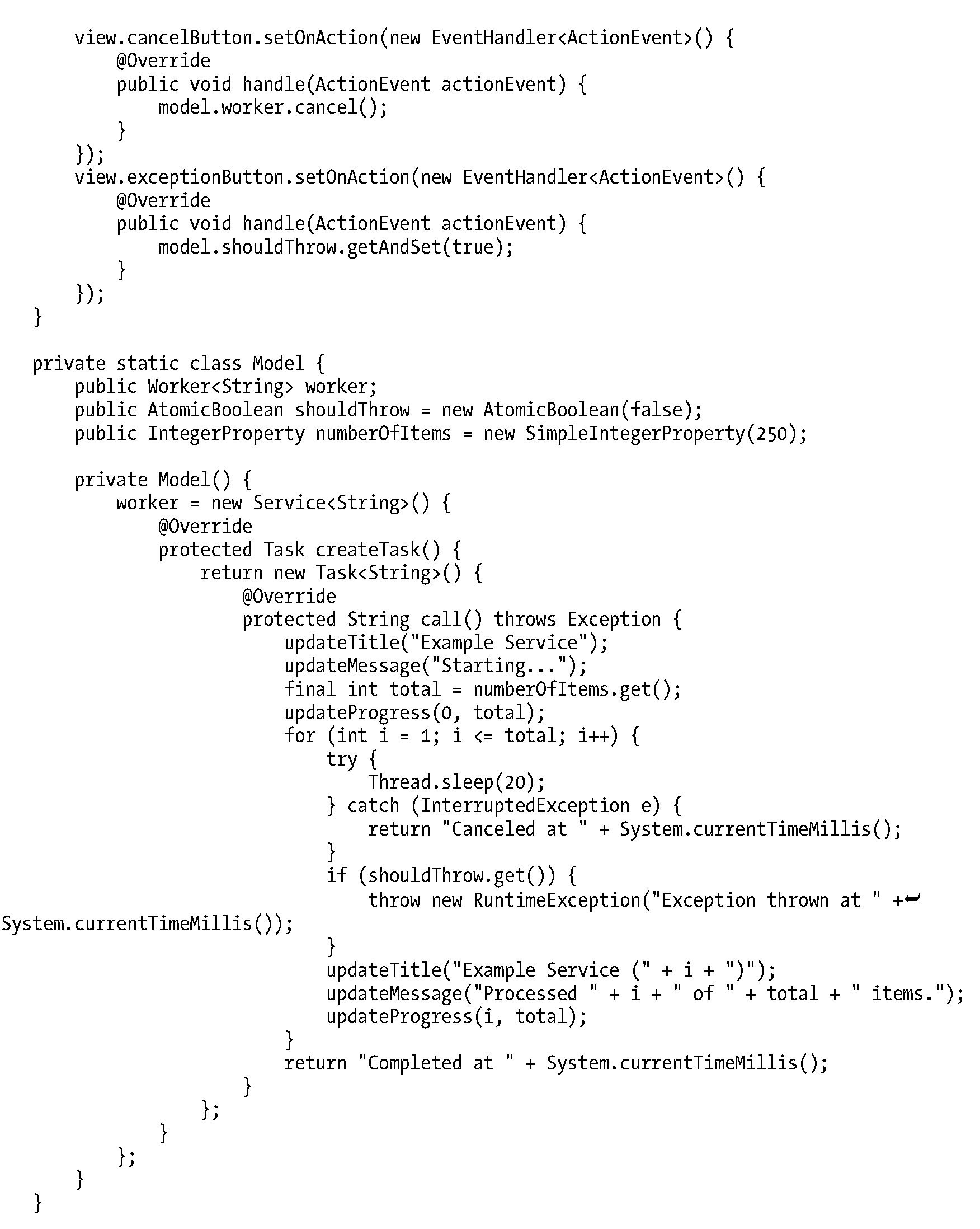 Using the javafx concurrency framework collections and concurrency serviceexamplejava baditri Gallery