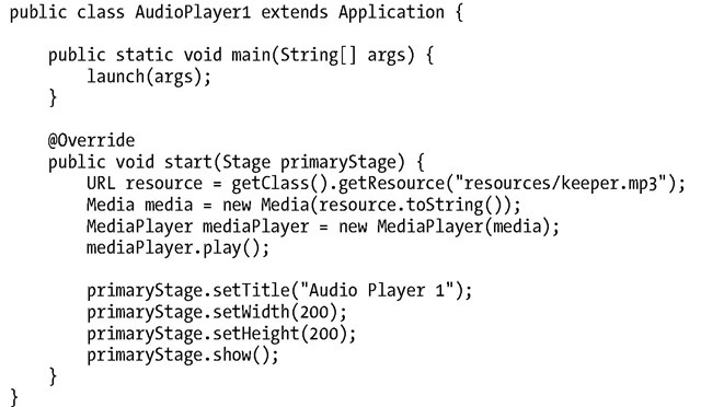 Playing Audio (Using the Media Classes) (JavaFX 2) Part 1