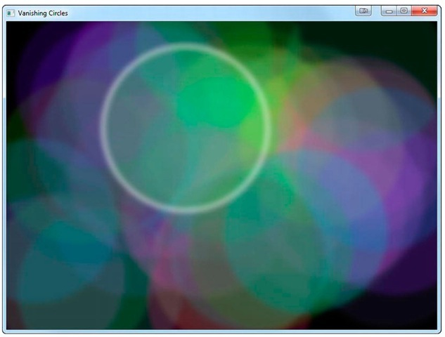 The Vanishing Circles application demonstrating JavaFX effects, animation, and interaction