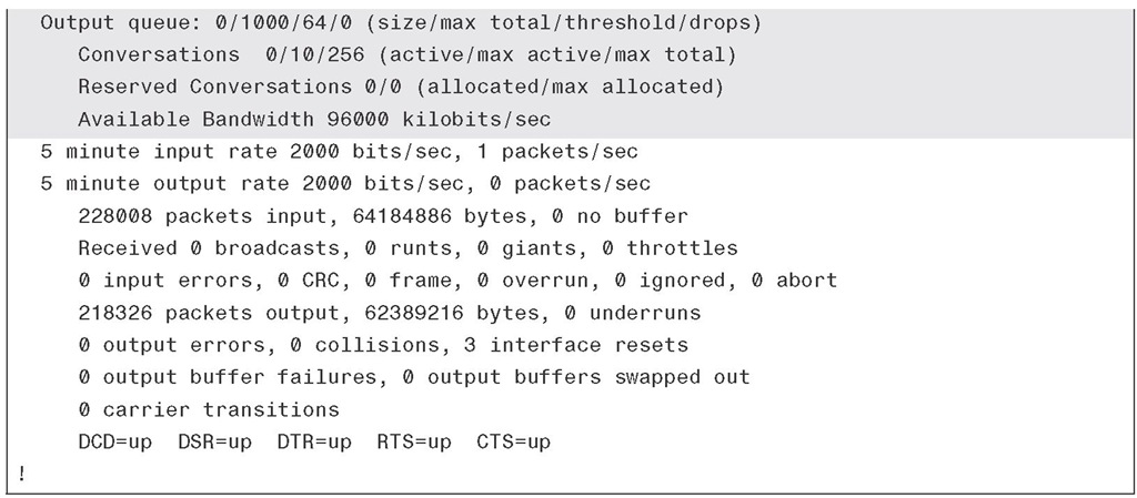 Sample Output of the show interface Command