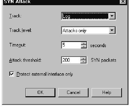 SYN Attack Settings