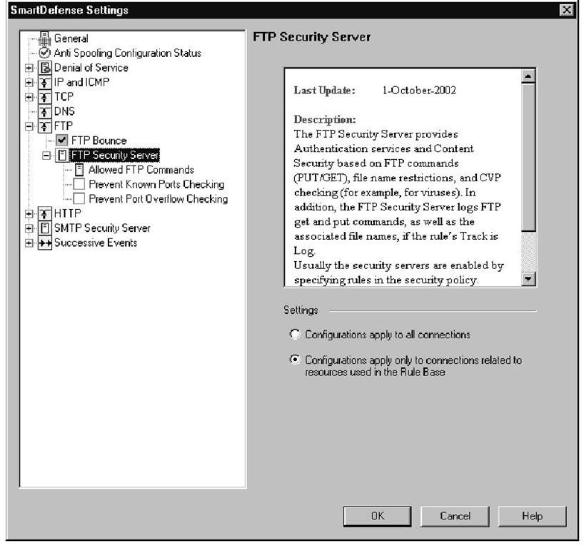 FTP Security Server Settings