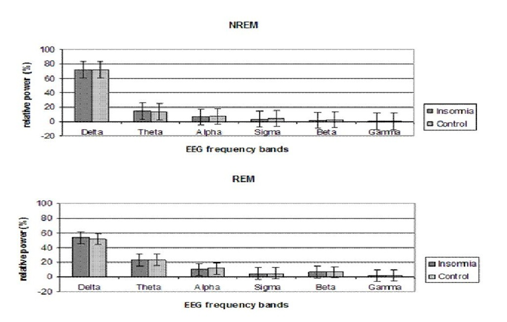 Relative spectral power profiles during NREM and REM sleep. An average of the entire night was calculated for each frequency band. Error bars denote standard error.