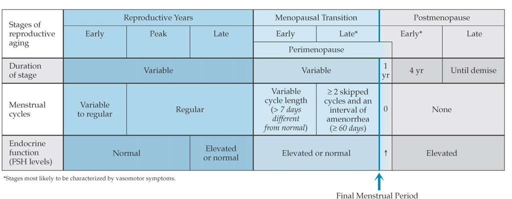 The Stages of Reproductive Aging Workshop (STRAW) reproductive staging system showing the relationship of the final menstrual period with menstrual cycle changes and FSH serum concentrations.2 (FSH—follicle-stimulating hormone, T—elevated)