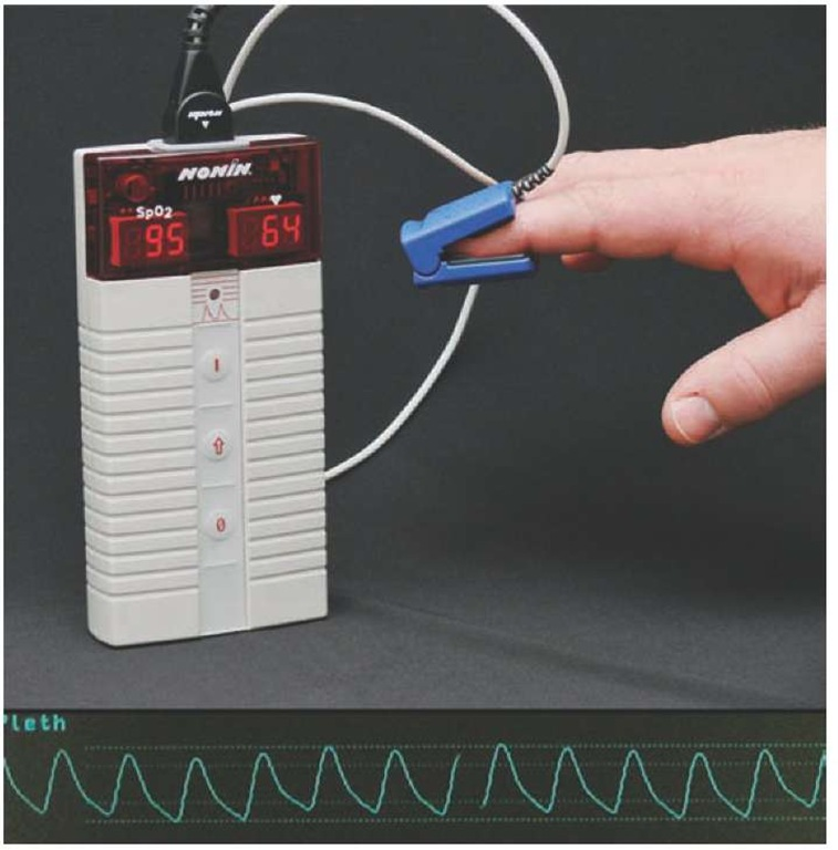 Pulse oximeters may display a numerical indication of SpO2 or waveform display of SpO2.