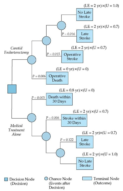 Shown is a decision tree depicting the application of expected-outcome decision analysis to the same patient referred to in Figure 2. (LE—life expectancy; U—utility)