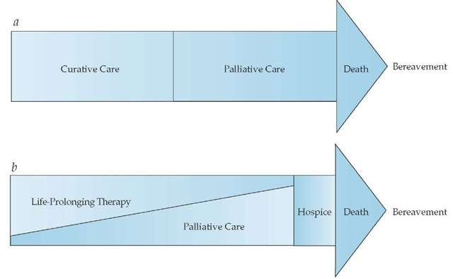 (a) Formerly, curative care and palliative care were viewed as mutually exclusive; when death became inevitable, curative care was abandoned and palliative care begun. This model of care is now outdated, because prognosis is so difficult to determine. (b) The current model views palliative care on a continuum with life-prolonging therapy, with palliative care assuming increasing importance as the patient's illness progresses and curative options are exhausted. Also, many chronic and life-threatening illnesses have no cures; the goals of treatment are to contain the illness and maintain an acceptable level of function and quality of life.