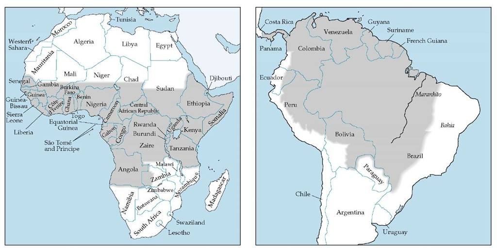 Yellow fever (gray areas) is endemic in parts of Africa (left) and South America (right). Several countries consider these zones infected areas and require an International Certificate of Vaccination against yellow fever from travelers from these zones.