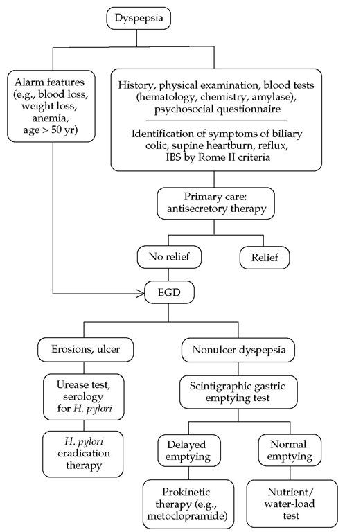 Algorithm for the treatment of dyspepsia.2 (IBS—irritable bowel syndrome; EGD—esophagogastroduodenoscopy)